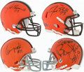 Football Collectibles:Helmets, Cleveland Browns Signed Mini Helmet Lot of 4....