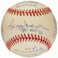 Autographs:Baseballs, Reggie Jackson Single Signed Stat Baseball with 19 Inscriptions, Limited Edition 0235/1000. ...