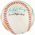 Autographs:Baseballs, Negro League Legends Multi-Signed Baseball with Satchel Paige (9 Signatures)....