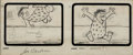 Animation Art:Production Drawing, The Flintstones Storyboard Drawings Sequence of 3 with Joe Barbera and Jean Vander Pyl Signatures (Hanna-Barbera, ...
