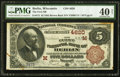 National Bank Notes:Wisconsin, Berlin, WI - $5 1882 Brown Back Fr. 472 The First NB Ch. # (M)4620. ...