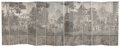 Decorative Arts, French:Other , A Large French Thirteen-Panel Chinoiserie Grisaille Wallpaper RoomScreen, 19th century mounted to later canvas. 95-1/2 x 24...