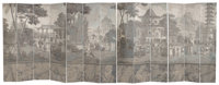 A Large French Thirteen-Panel Chinoiserie Grisaille Wallpaper Room Screen, 19th century mounted to later canvas 95