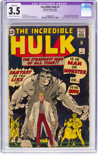 The Incredible Hulk #1 (Marvel, 1962) CGC Apparent VG- 3.5 Off-white to white pages