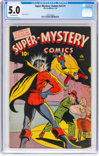 Super-Mystery Comics V5#1 (Ace, 1945) CGC VG/FN 5.0 Off-white pages