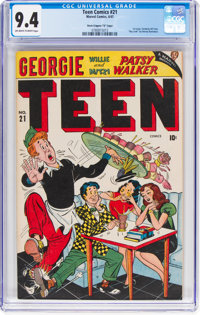 """Teen Comics #21 Davis Crippen (""""D"""" Copy) Pedigree (Marvel, 1947) CGC NM 9.4 Off-white to white pages"""