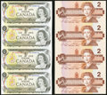 Canadian Currency, Canada BC-46b $1 1973 Uncut Sheet of Four;. Canada BC-55c $2 1986 Uncut Sheet of Four.. Choice Crisp Uncirculated.. ... (Total: 2 sheets)