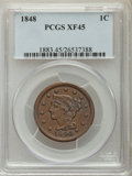 Large Cents, 1848 1C XF45 PCGS. PCGS Population: (110/428). NGC Census: (43/341). CDN: $100 Whsle. Bid for problem-free NGC/PCGS XF45. M...