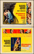 Movie Posters:Drama, Separate Tables (United Artists, 1958). Half Sheet...