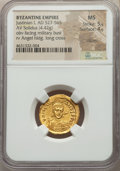 Ancients:Byzantine, Ancients: Justinian I the Great (AD 527-565). AV solidus (20mm,4.42 gm, 5h). NGC Choice MS 5/5 - 4/5, clipped....