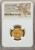 Ancients:Byzantine, Ancients: Heraclius (AD 610-641), with Heraclius Constantine. AVsolidus (4.52 gm). NGC MS 4/5 - 3/5, clipped. ...