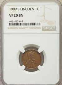 1909-S 1C VF20 NGC. NGC Census: (254/1445). PCGS Population: (368/2704). CDN: $100 Whsle. Bid for problem-free NGC/PCGS...