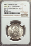 Colombia, Colombia: Republic 50 Centavos 1892 MS63 NGC,...