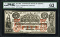Confederate Notes:1861 Issues, CT-31/245A $5 1861 Contemporary Counterfeit. PMG ChoiceUncirculated 63.. ...