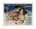 "Movie Posters:Crime, Private Hell 36 (Filmakers Releasing Organization, 1954) Half Sheet (22"" X 28""). This is a vintage, theater used poster for ..."