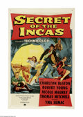 "Movie Posters:Adventure, Secret of the Incas (Paramount, 1954) One Sheet (27"" X 41""). Thisis a vintage, theater used poster for this adventure drama..."