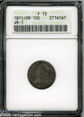 "Bust Dimes: , 1811/09 10C Fine12 ANACS,JR-1. The current Coin Dealer Newsletter(Greysheet) wholesale ""bid"" price is $180.00...."