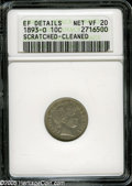"""1893-O 10C VF20--Scratched-Cleaned--ANACS,XF Details. The current Coin Dealer Newsletter (Greysheet) wholesale """"bid..."""