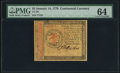 Colonial Notes:Continental Congress Issues, Continental Currency January 14, 1779 $3 PMG Choice Uncirculated 64.. ...
