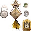 Arms Accessories:Flasks, Schützenfest: Lot of Five Assorted German Shooting Badges and Medals, 1899-1965....