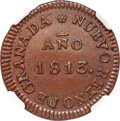 Colombia, Colombia: Provisional Government copper 8 Reales 1813 AU53 Brown NGC,...