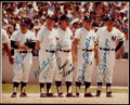 Autographs:Photos, 1980-81 Yankees Old-Timers' Day Multi-Signed Photograph with Maris, Mantle, & DiMaggio....