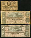 Confederate Notes:Group Lots, T63 50 Cents 1863 PF-1 Cr. 486 Very Good;. T68 $10 1864 PF-39 Cr.-UNL Fine;. T69 $5 1864 PF-8 Cr. 562 Very Good-Fine.... (Total: 3 notes)
