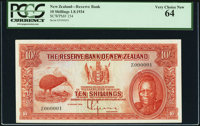 New Zealand Reserve Bank of New Zealand 10 Shillings 1.8.1934 Pick 154 Serial Number 1 PCGS Very Choice New 64