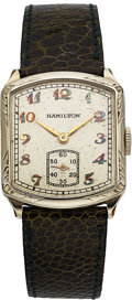 Timepieces:Wristwatch, Hamilton Tonneau Engraved, 14K White Gold Filled, Manual Wind, Circa 1928. ...