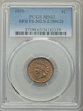 1859 1C Repunched Date, Snow-2, FS-302, MS63 PCGS. PCGS Population: (3/9). NGC Census: (1/3). MS63. Mintage 36,400,000...