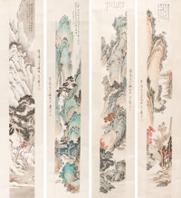Puru (Pu Xinyu) (Chinese, 1869-1963) The Four Seasons (four scrolls) Ink and color on paper 51-3/... (Total: 4)