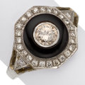 Estate Jewelry:Rings, Art Deco Colored Diamond, Diamond, Black Onyx, Platinum, White Gold Ring . ...