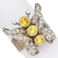 Estate Jewelry:Rings, Diamond, Colored Diamond, Synthetic Yellow Sapphire, White Gold Ring. ...