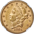 Liberty Double Eagles, 1864-S $20 AU55 NGC....