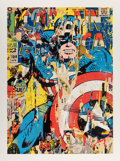 Prints & Multiples, Mr. Brainwash (American, b. 1966). Captain America, 2018. Screenprint in colors on hand torn paper. 49 x 37 inches (124....