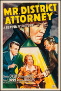 """Movie Posters:Crime, Mr. District Attorney (Republic, 1941). One Sheet (27"""" X 41""""). From the Collection of Frank Buxton, of which the sale's pr..."""