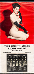 "Movie Posters:Sexploitation, Pin-Up Lot (Stern Cigarette Vending Machine Company, 1954). Pin-Up Calendar (16"" X 33.75""). Sexploitation.. ..."