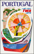 """Movie Posters:Miscellaneous, TWA Airlines: Portugal (1960s). David Klein Travel Poster (25"""" X 40""""). Miscellaneous.. ..."""