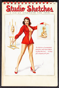 "Studio Sketches: A Pin-Up Calendar For 1959 (1959). Spiral-Bound Calendar (8.75"" X 13.25"") T. N. Thompson Artw..."