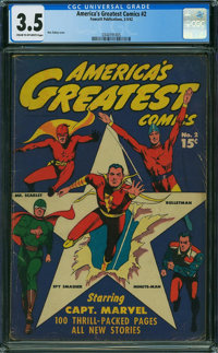 America's Greatest Comics #2 (Fawcett Publications, 1942) CGC VG- 3.5 CREAM TO OFF-WHITE pages