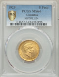 Colombia, Colombia: Republic gold 5 Pesos 1929 MS64 PCGS,...