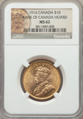 Canada, Canada: George V gold 10 Dollars 1914 MS62 NGC,...