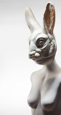 Sculpture, Terence Koh (Canadian/Chinese, b. 1977). Untitled, 2011. Fiberglass mannequin and acrylic paint, with plastic rabbit mas...