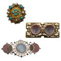 Estate Jewelry:Brooches - Pins, Multi-Stone, Seed Pearl, Gold, Silver, White Metal Brooches. ... (Total: 3 Items)