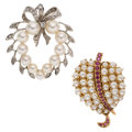 Estate Jewelry:Brooches - Pins, Cultured Pearl, Diamond, Ruby, Gold Brooches. ... (Total: 2 Items)