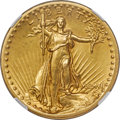 High Relief Double Eagles, 1907 $20 High Relief, Flat Rim -- Cleaned -- NGC Details. AU....