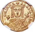 Ancients:Byzantine, Ancients: Irene, Sole Reign (AD 797-802). AV solidus (20mm, 4.38gm, 6h). NGC MS 5/5 - 4/5....