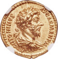 Ancients:Roman Imperial, Ancients: Marcus Aurelius, as Augustus (AD 161-180). AV aureus (20mm, 7.27 gm, 6h). NGC Gem MS 5/5 - 5/5, Fine Style....