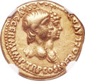 Ancients: Nero (AD 54-68) with Agrippina Junior. AV aureus (19mm, 7.66 gm, 3h). NGC VF 4/5 - 4/5