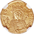 Ancients:Byzantine, Ancients: Michael III 'the Drunkard' (AD 842-867), with Theodora and Thecla, AV solidus (20mm, 4.32 gm, 6h). NGC Choice XF 5/5 - 3/5, cl...